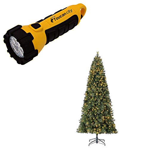 Toucan City LED Flashlight and HOME HERITAGE 9 ft. Cascade Cashmere Quick Set Christmas Tree and Changing Lights TG90M3W92D01