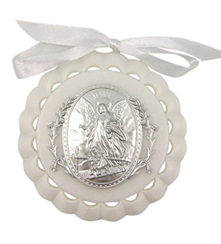 Moulded Acrylic White Crib Medal with Guardian Angel for Baby Nursery Decor, 3 1/2 Inch