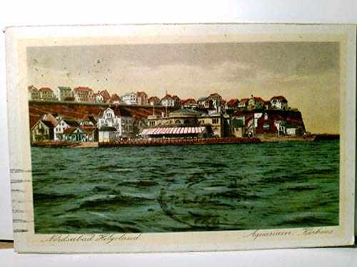 Nordseebad Helgoland. Aquarium Kurhaus. Alte AK farbig, gel. 1912. Blick zum Unter u. Oberland vom Meer gesehen