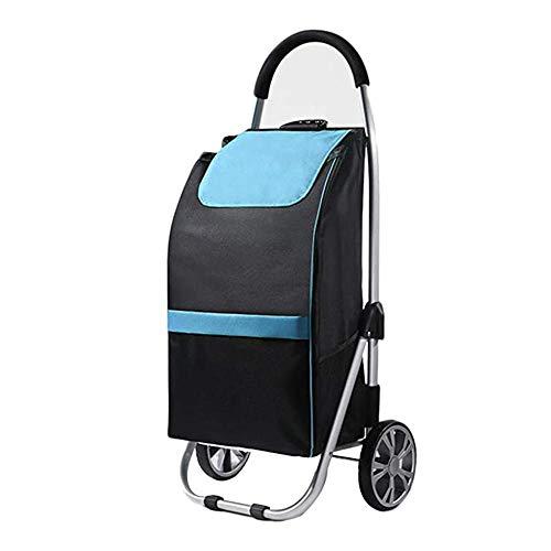 MJAHQ Chariot de Courses 2 Roues Pliable à roulettes Chariot Pliant, Rangement Facile 53L Grande capacité, Charge 40 kg, étanche, résistant à l usure, Roue silencieuse avec Corde élastique-Bleu_Une