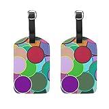 Art Abstrak Dots - Etiquetas de identificación de equipaje (2 unidades, piel sintética), diseño de lunares, para colgar en la bolsa de viaje, maleta