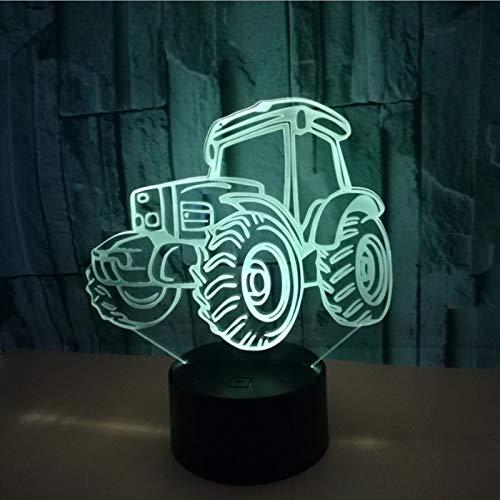 Led-nachtlampje, kleurrijk, touchscreen, 3D, nachtlampje, USB, tafellamp, baby, kinderen, cadeau, bed, tractor.