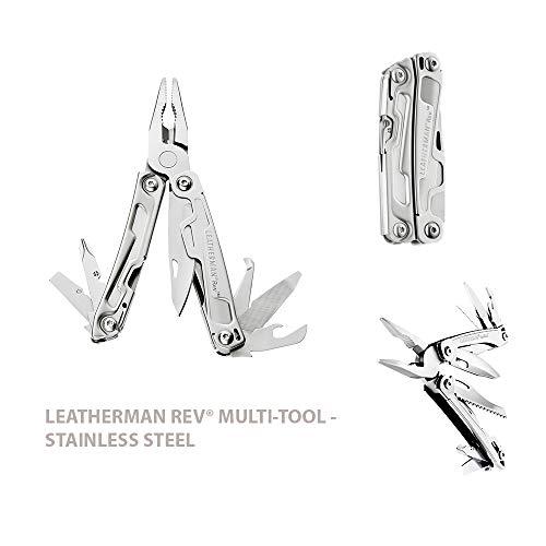 Leatherman Rev - Multiherramienta de bolsillo, 14 herramientas, hoja bloqueable para camping y bricolaje, de acero inoxidable con alicates navaja y destornillador, hecho en EE.UU., con funda de nylon