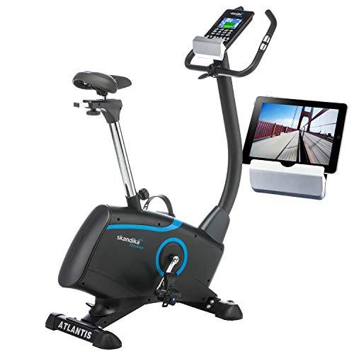 skandika Ergometer Fahrrad Atlantis | Heimtrainer mit App Steuerung (Kinomap, iConsole), Bluetooth, 10kg Schwungmasse, Puls und Körperfettmessung, 32 Stufen, geräuscharm, Transportrollen | bis 150kg