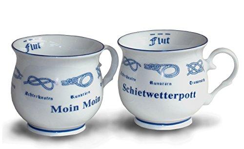 Unbekannt 2er Set Kaffeebecher Kugelbecher Moin Moin + Schietwetterpott | Tassenset aus Porzellan mit Seemanssknoten