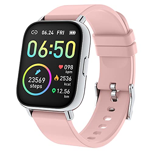 """Rinsmola Smart Watch for Women, 2021 Fitness Tracker 1.69"""" Touch Screen Smartwatch Fitness Watch Heart Rate Monitor, IP68 Waterproof Pedometer Activity Tracker Sleep Monitor for Android iPhone Pink"""