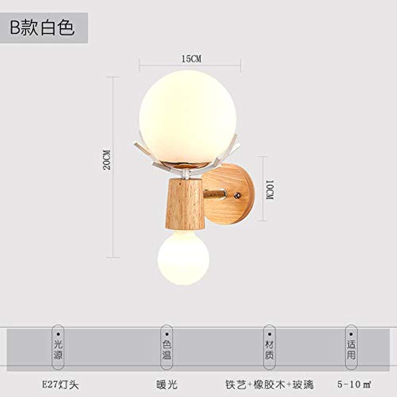 Eisen Wandleuchte, Nordic Fashion Wandleuchte Nachttischlampe Kreative einfache Holztreppe Gang Schmiedeeisen Wandleuchte @ B Weiß_TriFarbe LED