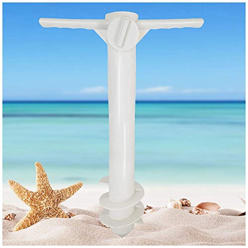 AMMSUN Beach Umbrella Sand Anchor Stand Holder with 3-Tier Screw, One Size Fits All Safe for Strong Wind White