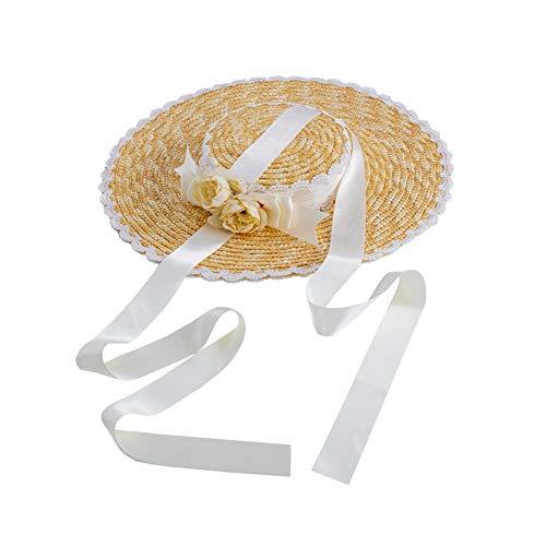 GRACEART Lolita Mädchen Strohhut Nachmittagstee Pastoral Faltbare Kappe Floppy Cosplay Sonnenhut (Weiß)