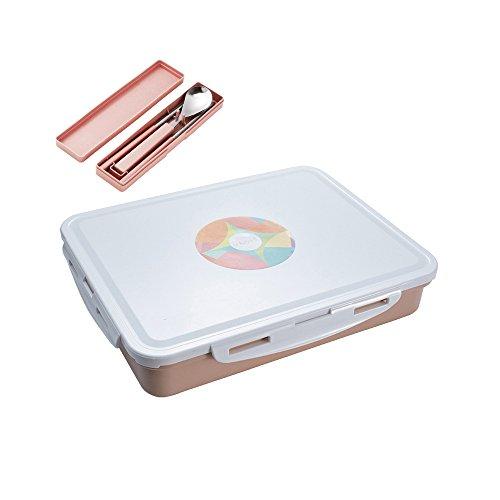 Edelstahl-quadratische Lunch-Box, BAFFECT Mikrowelle Bento Boxen Aufbewahrungsboxen mit Vakuum-Dichtung Deckel und Edelstahl Innenraum Isoliert Kinder Studenten Pink