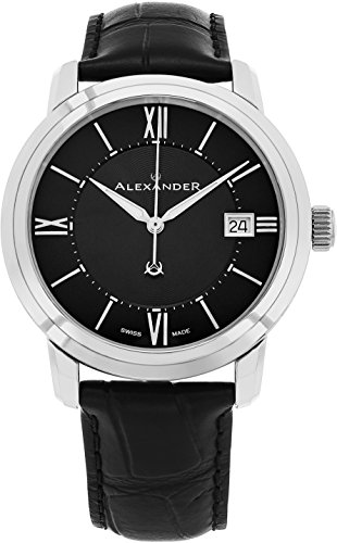 Alexander Heroic Macedon Stainless Steel Mens Dress Watch Black Leather Band - 40mm Analog Black Face with Second Hand Date and Sapphire Crystal - Classic Swiss Made Quartz Watches for Men A111-01
