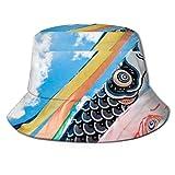 Henry Anthony Sun Cap Carp Streamers Koinobori Festival Tradicional japonés Cubo Sombrero para el Sol Protección Packable Summer Fisherman Cap Pesca,