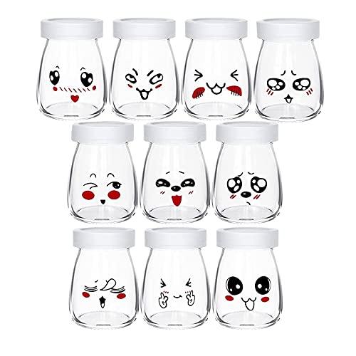 Lot de 10 Pots de Yaourt en Verre avec Couvercles Étanches Pot Yaourt Enfant avec Décor émoticône différents pour Yaourtières Maison (100 ML)