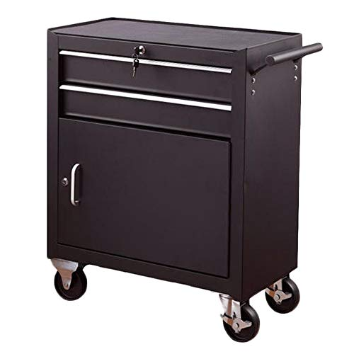 YGWE Tool Cabinets Multifunctional Auto Repair Tool Trolley Workbench Workshop Tool Tin CabinetTool Cart With Drawer Tool Chest (Color : Black, Size : 62x33x76cm)