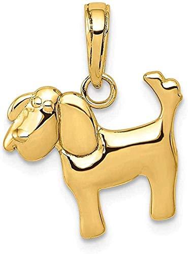 NC110 Collar con Colgante de Perro de Oro Amarillo de 14 k, joyería Fina Animal para Mujer, Regalos para Ella