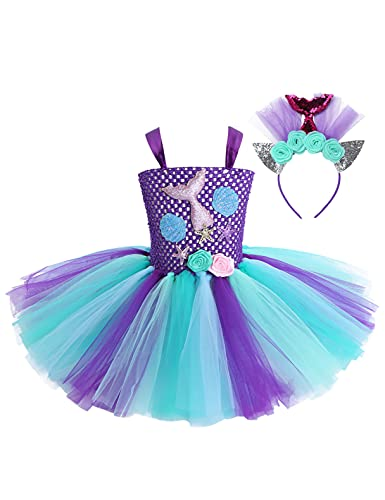 JEATHA Vestido tutú de la Sirenita para niñas para Fiesta de cumpleaños, Disfraces de Princesa de Halloween con Diadema de 2 a 12 años Azul&Morado 6-7años