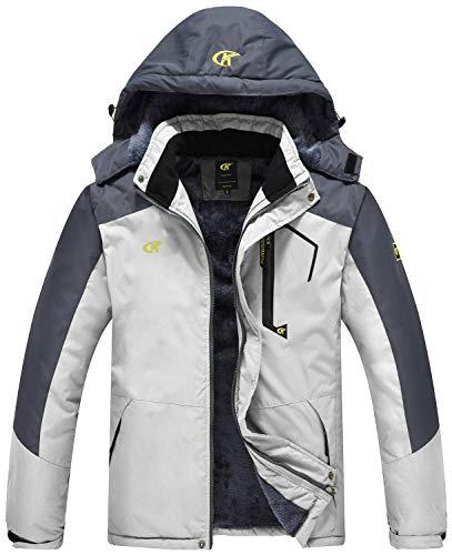 QPNGRP Mens Waterproof Ski Snowboard Jacket Windproof Winter Mountain Snow Coat White XX-Large