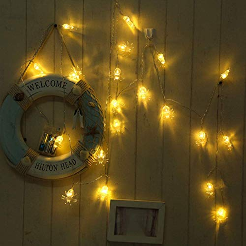HJCE Halloween Horrible Spider Style Light,40 Led Battery Powered Led Spider String Lights,for Halloween Party Yard Decorations Warm White