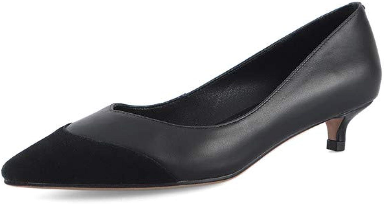 Nine Seven Genuine Leather Women's Pointed Toe Low Kitten Heel Heel Cute Handmade Concise Slip On Women Dress Pumps