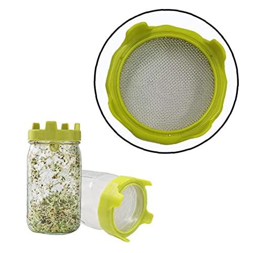 Runfon Cubierta de germinación Sprouter Sprouter Boca Ancha Twart Jar Mason Juego Sprouter para brócoli Alfalfa Mung Brights - Verde