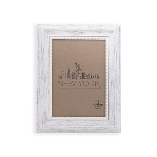 8x10 Picture Frame White/Gold - Mount/Desktop Display, Frames by EcoHome