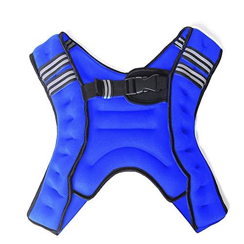 Gvqng 5 Kg / 8 Kg / 10 Kg Gewichtsweste, X Style Laufweste, mit Reflektierendem Streifen und Tasche, Trainingsweste für Krafttraining, Laufen, Fitness, Cross Training,Blau,10KG