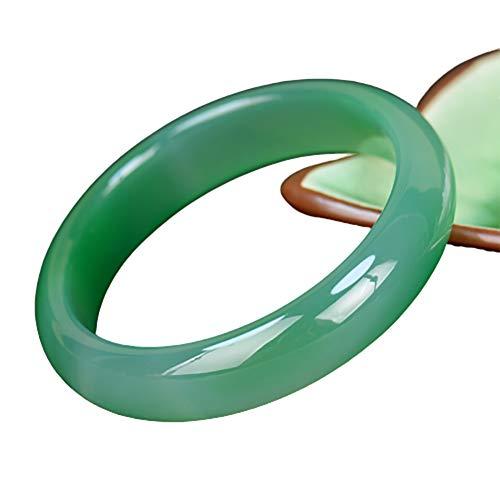 73HA73 Pulsera de Jade Calcedonia Verde Brasileña Natural Elegante Jadeíta Clásica Alta Transparente Hielo Jade Piedra Preciosa Pulsera de Jade Artesanal,56mm