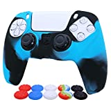 PS5 Controller Skins RALAN,Silicone Controller Cover Skin Protector Compatible for PS5 Controller (Thumb Grip x 10,Red+ Blue+Green+White+Colorful /2)