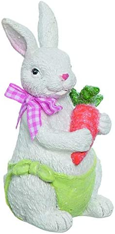 White Terracotta Bunny Rabbit Carrot Figurine Holding Ranking TOP15 A Max 40% OFF