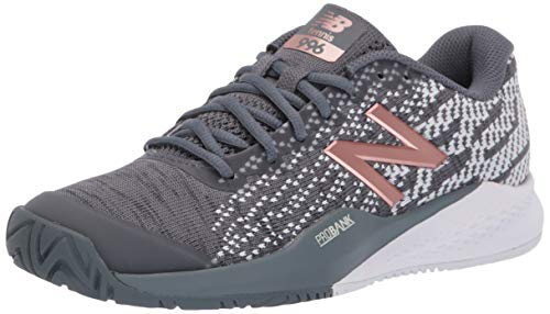New Balance Women's 996 V3 Hard Court Tennis Shoe, Black/Champagne, 5.5 D US