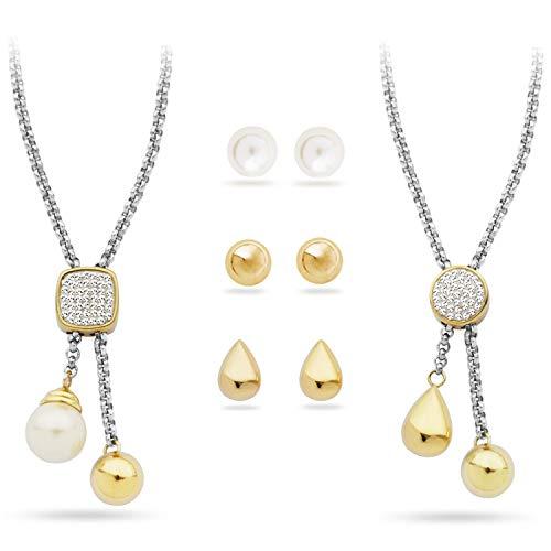 Pierre Cardin PXX6868 Schmuck Set mit Zwei Ketten und DREI Ohrringe in Farbe Gold, Silber und Perle in Luxusverpackung Geschenkbox