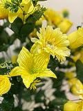Flores artificiales Lily Gerber Rose Bud Mix 4 x 72 tallo (288) Rosas falsas de aspecto real, lirios de 63,5 cm para DIY Ramos de Boda Centros de Mesas de Fiesta de Novia Decoración del Hogar (4, Amarillo)