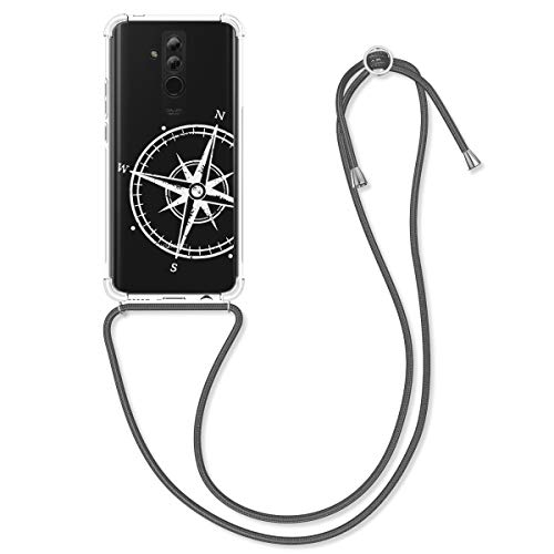 kwmobile Carcasa con Cuerda Compatible con Huawei Mate 20 Lite - Funda de TPU con Colgante Aguja magnética Blanco/Transparente