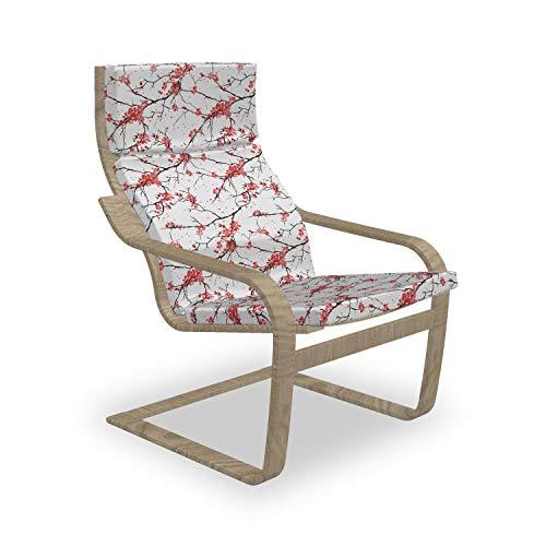 ABAKUHAUS Natur Poäng Sessel Polster, Windy April Wetter, Sitzkissen mit Stuhlkissen mit Hakenschlaufe und Reißverschluss, Coral Schwarz