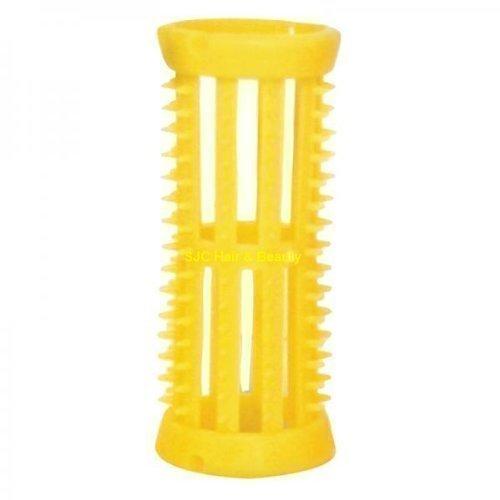 Skelox - Pack de 12 Rouleaux en Plastique pour Cheveux - Taille Petit - 22mm - Jaune