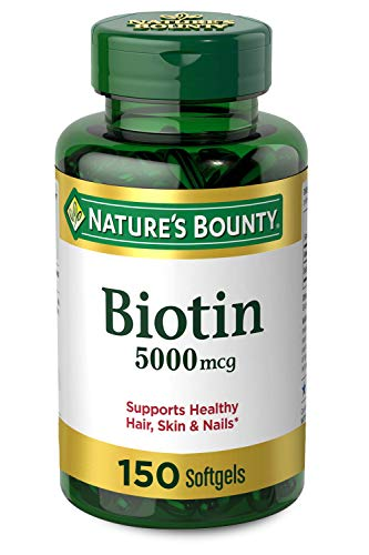 Biotin by Nature's Bounty, Vitamin Supplement, Supports Metabolism for Energy and Healthy Hair, Skin, and Nails, 5000 mcg, 150 Softgels