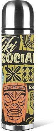 Tiki Social Graphic Kaffeetassen Mit Deckel 316 Edelstahl Wasserflasche Becher 3D Gedruckt Leder Rutschfest, Auto Tragbare Reise Tee Kaffee Vakuum Thermoskanne Tasse