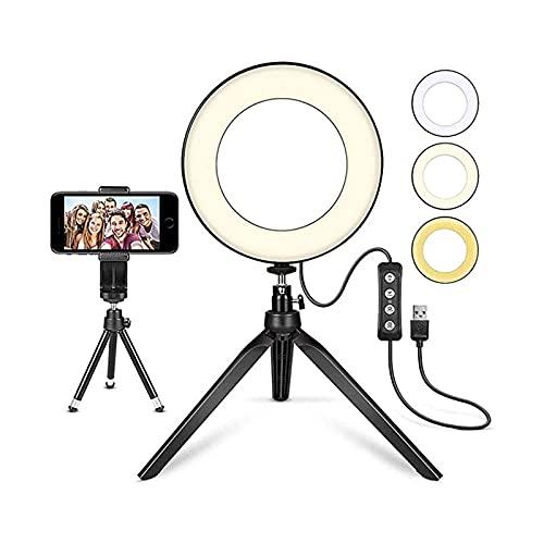 XTZJ 6 ' DIRIGIÓ Luz de anillo con soporte de trípode y soporte para teléfono, 3 modos de luz 11 Escritorio de nivel de brillo Selfie Lightlight para teléfono, para transmisión en vivo / maquillaje /