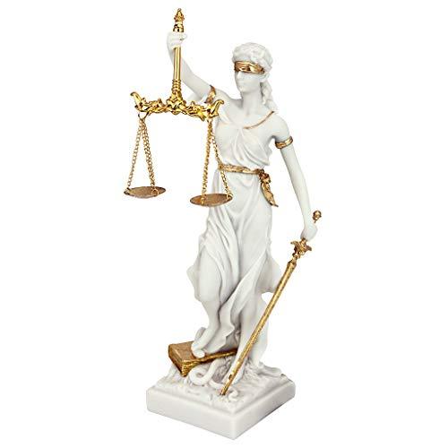 Design Toscano Themis La dea bendata della giustizia Statua regalo per avvocati, marmo-resina, bianco, 33 cm