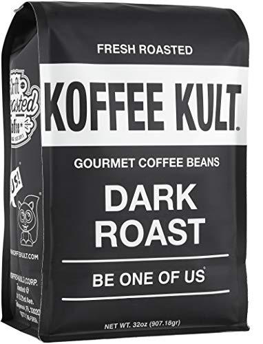 Koffee Kult Coffee Beans Dark Roasted - Organically Sourced Fair Trade - Whole Bean Coffee - (32oz)