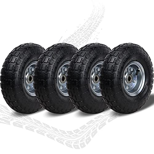 """10"""" All Purpose Utility Replacement Air Tires/Wheels 4.10/3.50-4"""" with 5/8"""" Double Sealed Center Bearings,for Hand Truck/Garden Cart/Gorilla Wagon/Generator/Wheelbarrow/pressure washer(4 Pack)"""