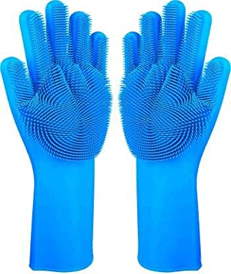 LKMO Latex Free Scrubbing Gloves Heat Resistant Non-Slip, House Hold Cleaning, Dish-washing and Pet Grooming Gloves (Free Size, Multicolour) - 1 Pair