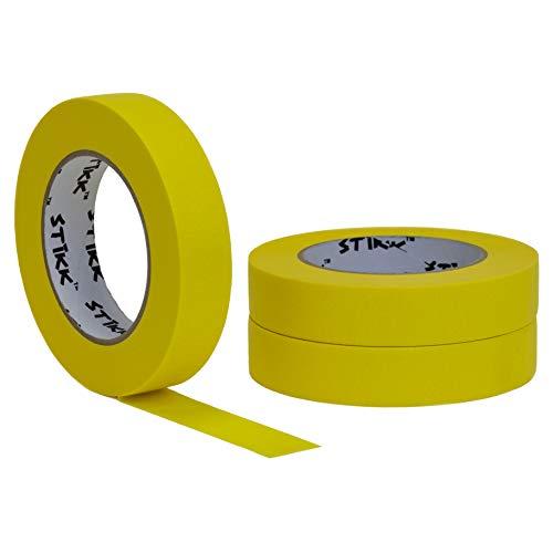 Stikk Klebeband, 2,5 cm x 2,54 m, gelb, 14 Tage saubere Abgrenzung für dekorative Markierungen, Abklebeband, 3 Stück