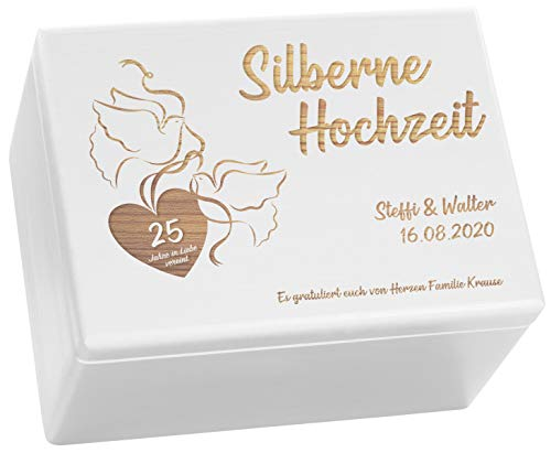 LAUBLUST Holzkiste zur Silber-Hochzeit - Turteltauben - Personalisiert mit Wunsch-Gravur - ca. 40x30x24cm, Weiß, FSC®