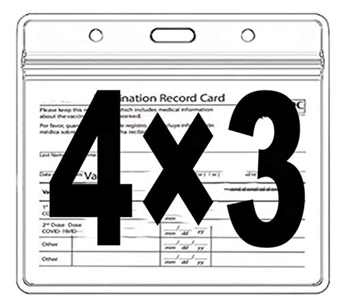 Health Card ID Card Protective Case Waterproof PVC Soft Card Case-Card Protector 4 X 3 in Health ID Card Name Tag Badge Cards Holder Clear Vinyl Plastic Sleeve with Waterproof Type Resealable Zip (10)