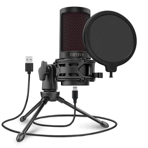 USB Microphone for Computer, CMTECK XM550 Gaming Cardioid Mic for PC Laptop Desktop Mac, Mute Button...