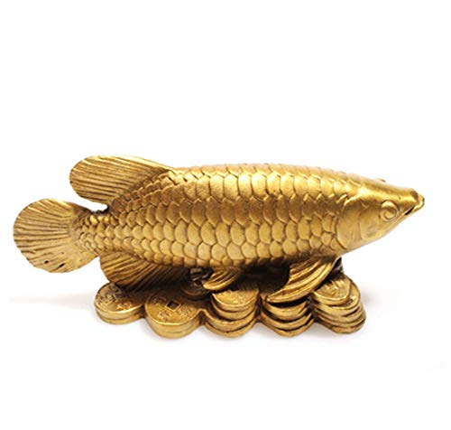 Feng Shui Copper Arowana Golden Dragon Fish Money Fish Statue Figurine Home Furnishing Ornament Lucky red String Set