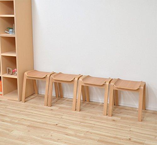 スタッキングスツールナチュラルオーク色4脚セットhp14marut360-ok4北欧風木製玄関椅子すっきり収納