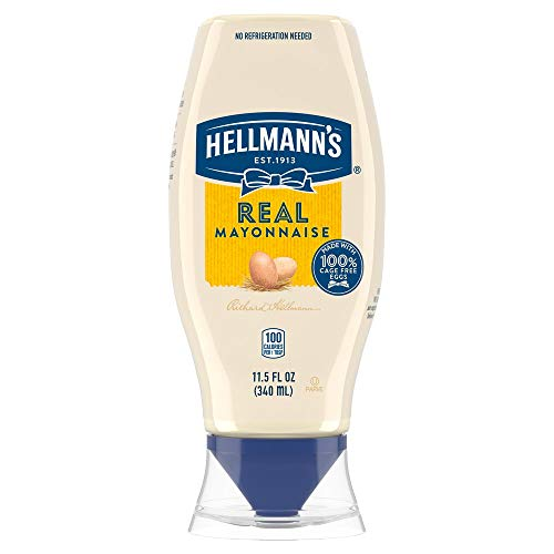 Hellmann's Real Mayonnaise Squeeze Bottle Made from 100% Recycled Plastic, No-Mess Cap, Made with Cage Free Eggs, Gluten Free, 11.5 oz, Pack of 12