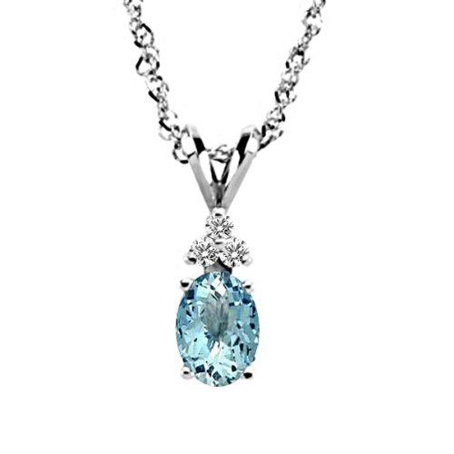 Silvercartvila Halskette mit Anhänger, oval, rund, 0,06 Karat Aquamarin & Sim-Diamant, 45,7 cm